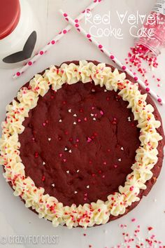 Red Velvet Cookie Cake | crazyforcrust.com