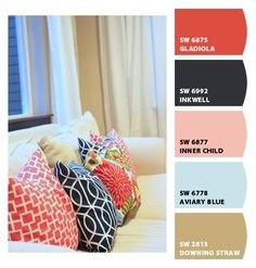 Corals, Pinks and Blues ....Paint colors from Chip It! by Sherwin-Williams