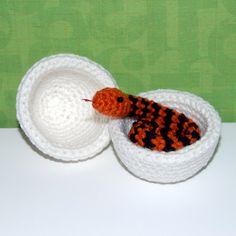crochet snake in egg