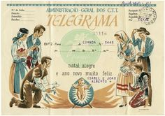 illustrated telegram from Portuguese postal offices. Júlio Gil