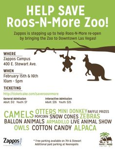 This two day event is designed to bring community together for a cause. 100% of the donations will go to Roos and More a local 501c3 to help re-open their doors.  Show the animal world what success' can happen when a community comes together! #LasVegas #Vegas #DTLV #Charity https://ticketcake.com/saveroosnmore