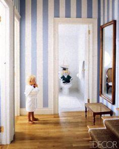 elle decor, blue, boy rooms, boy bathroom, natural wood, striped walls, hallway, little boys rooms, stripes