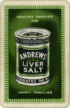 Andrews Liver Salt playing card, 1930s.