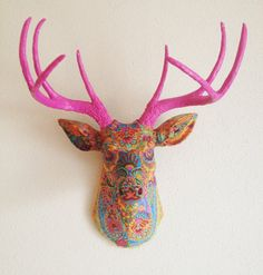 Paisley Deer Head wall mount by Banana Tree Studios - Love the whole idea of this - would look great on the wall of an eclectically designed studio