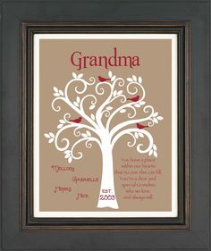 Grandma Gift- Family Tree - Personalized gift for Grandmother - Mother's Day Gift - Can be done in other colors. $15.00, via Etsy.