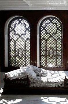 the art of shadows: moroccan woodwork screen, moroccan bedroom, window, shadow, decorating bedrooms