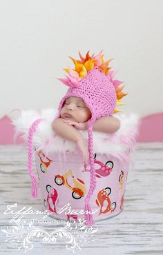 Mohawk hat baby girl 2T4T size Pink and Yellow by maddieloubeanies, $50.00