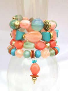 Memory Wire Beaded Wrap Bracelet..Love these colors together!!