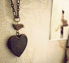 Vintage bird and heart necklace