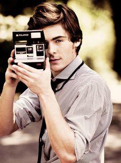 Zac Efron with a Polaroid (Celebrity Camera Club). #Photography #Photographer #Camera