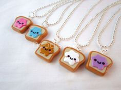 Kawaii Peanut Butter and Jelly Toast Polymer Clay Charms
