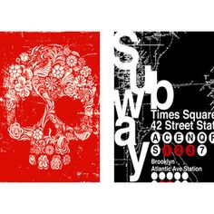 Skull and Subway Posters, Set of 2