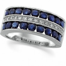 Channel Set Sapphire and Diamond Ring