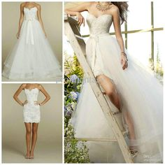 Wholesale Removable 2 in 1 Backless Wedding Dresses Short Lace Sheath Skirt Floor-Length A-Line OverskirFreeDHgate