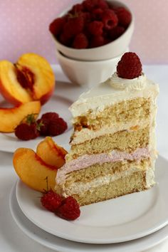 Peach and Raspberry Mousse Cake