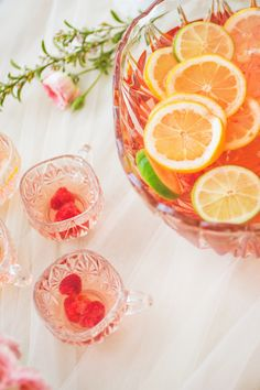 Raspberry and orange spiked punch