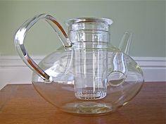 Vintage Schott Mainz Jena Glass Teapot with Infuser. $42.00, via Etsy.