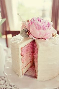 A Pink Ombre Cake topped with a peony is perfect for a small #luxbride wedding.