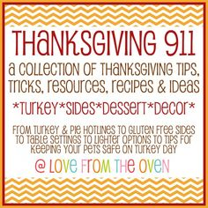 Thanksgiving 911 - This is great!  Tips, Tricks & Advice on everything from turkey to sides, desserts to travel, wine pairings to great photos, staying sane & even keeping the pets safe.