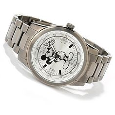 619-138 - Disney Men's Mickey Mouse Stainless Steel Gunmetal Bracelet Watch