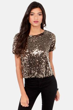 Marvel-Luster Antique Gold Sequin Top at LuLus.com! #lulus #holidaywear