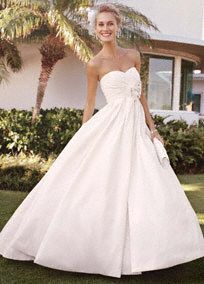 The+modern+ball+gown+for+the+trendy+bride,+this+strapless+shantung+taffeta+gown+is+a+definite+winner.+Strapless+sweetheart+bodice+is+flattering+while+bow+with+brooch+at+waist...+Learn+more
