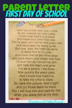 Poem for entering Kindergarten, Poem from teacher to start the new year
