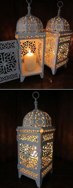 Moroccan Tea Light Lanterns <3 {Orange, Teal White