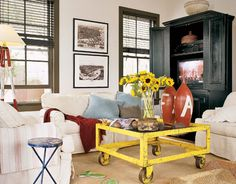 The industrial yellow cart, laboratory dining chairs, and old school lockers came from Victory Vintage in Decatur.