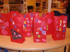 Valentine bags with red lunch bags and foam stickers