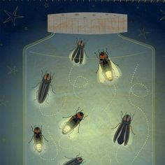 """The Enlightened Fireflies""...  A jar of fireflies lights the night in this whimsical print by John W. Golden"