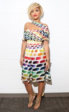 The sexy British singer wears all the colors of the rainbow at the 106 & Park at BET studio in NYC.