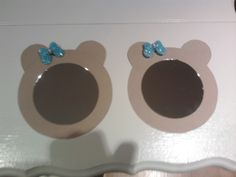 """Guess who is invited......  to a beary special birthday?     Invites to my daughter's  """"Build a Bear""""  birthday party. Mirror and cardboard."""
