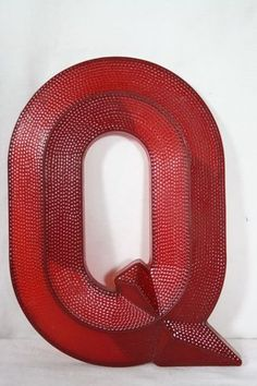 Vintage Red Plastic Theater Sign Letter Q - Aurora Mills Architectural Salvage