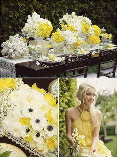 yellow flowers gray weddings, yellow flowers, yellow weddings, white flowers, color, wedding ideas, bridesmaid dresses, wedding centerpieces, lemon