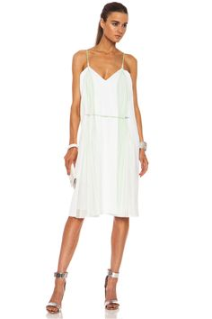 CHRISTOPHER KANE Viscose Double Pleat Cami Dress in White  Mint