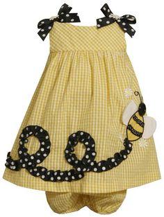 Bonnie Baby Baby-Girls Infant Bumble Bee Applique Seersucker Dress $21.00