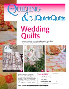 Free downloadable eBook of 3 wedding quilt patterns from McCall's Quilting.