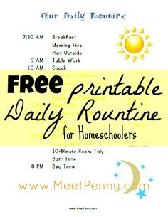 TONS of free homeschool printables for scheduling, routines, and kids' chores