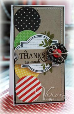 scrap large circles; label with sentiment banner & flower with leaves
