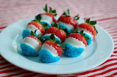Chocolate-dipped Strawberries for Olympic viewing party or 4th of July celebrations
