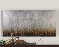 hand paint, wall decor, uttermost sterl, branch hand, paint art, master bedroom, sterl branch, branches, artwork