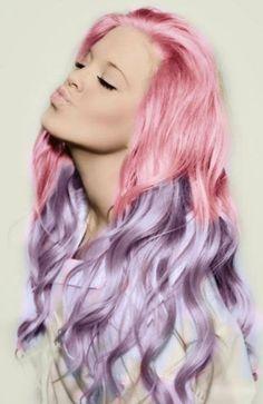 purple hair, cotton candy, hair colors, candi, pastel pink, hairstyl, hair chalk, pastel hair, dip dye