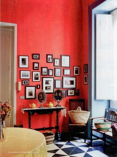 Red wall.  Frame cluster with white matte.