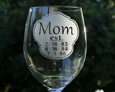 Personalized Etched Glass Mothers Day Gift 1 20 oz by ScissorMill, $18.50