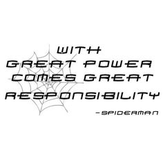 "11"" x 24"" With Great Power Comes Great Responsibility Spiderman Superhero Quote Wall Sticker Decal $15"