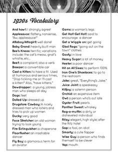"""Let's Bring Back: 1920s vocabulary, because I particularly like the term """"fly boy"""" and """"bees knees"""" has a certain ring to it. We used these phrases for a 1920's themed murder mystery party a few years ago. It was the cat's meow!"""