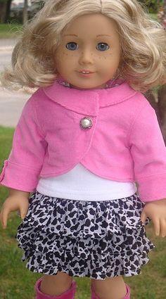 Pink Corduroy Jacket, Ruffled Skirt & T-Shirt For American Girl Or Similar 18-Inch Dolls. $47.99, via Etsy.