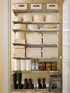 Holding Zone  Use adjustable wire shelves to transform wasted vertical space -- in a pantry, the basement, the attic, you name it -- into useful storage for special-occasion china or seasonal dishware. Keep dishes neatly paired and free from dust inside size-appropriate quilted protectors. Hang tags from zippers for easy identification.