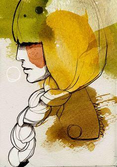 Watercolor portrait / repinned by http://stephaniegraphisme.wix.com/portfolio